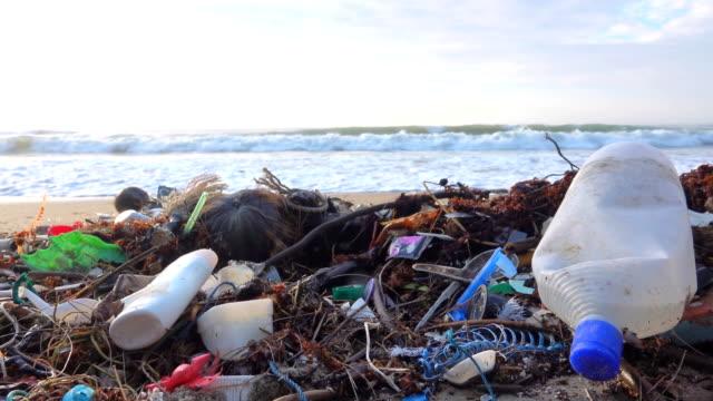 vídeos de stock e filmes b-roll de tropical beach filled with plastic garbage - sem higiene