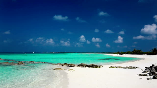 Tropical beach in Maldives with crystal clear water and rocks video