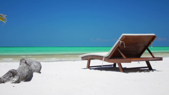 Tropical Beach Chair on a tropical beach in mexico lounge chair stock videos & royalty-free footage