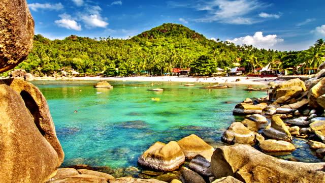 тропический пляж. - oman стоковые видео и кадры b-roll