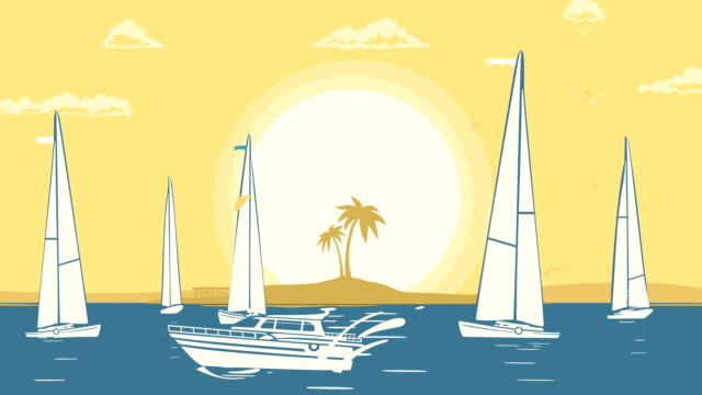 Tropical Beach With Yachts video
