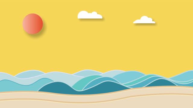 Tropical Carton animation Sky, sea fish,Sun, cloud video