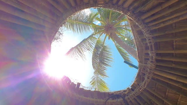 vídeos de stock e filmes b-roll de tropical concept video. sunflares in the roof's window. palm view throught roof's window in beach bungalow. - bali