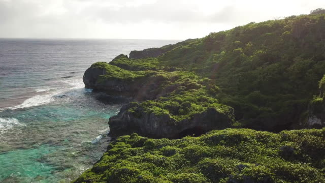 Tropical coral Island Aerial view of a tropical coral island coast line. Deep blue ocean, green coastline, coral reefs and swimming holes. Shot in the pacific, on Niue. pacific islands stock videos & royalty-free footage