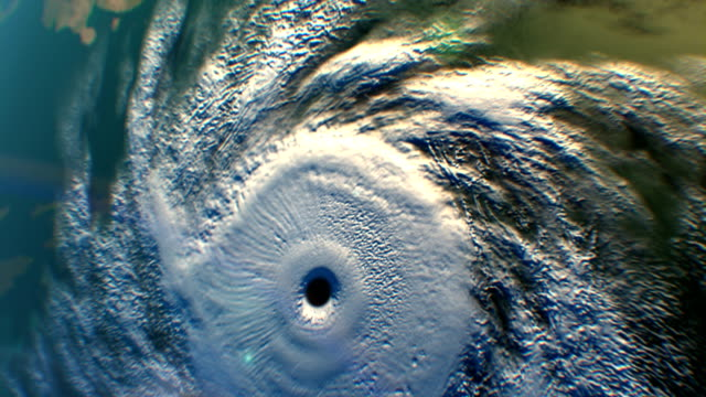 Tropical cyclone, satellite view, 3D animation video