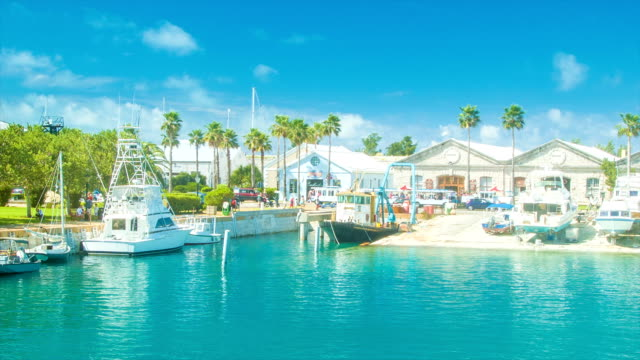 Tropical Harbour Setting in Bermuda's Royal Navy Dockyard video
