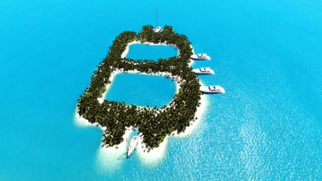 vídeos de stock e filmes b-roll de tropical island in the form of bitcoin - transatlântico