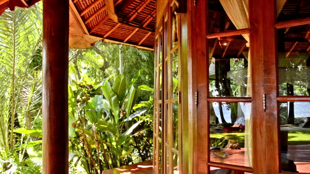 tropical jungle in behind windows of a bungalow - Bali video