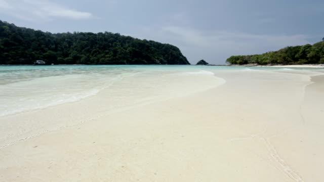 tropical lagoon with white sand beach video