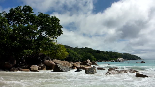 Tropical landscape of the coast of Anse Lazio, Prasin island, Seychelles Tropical landscape of Anse Lazio, Prasin island, Seychelles indian ocean islands stock videos & royalty-free footage