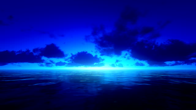 Tropical ocean at night video