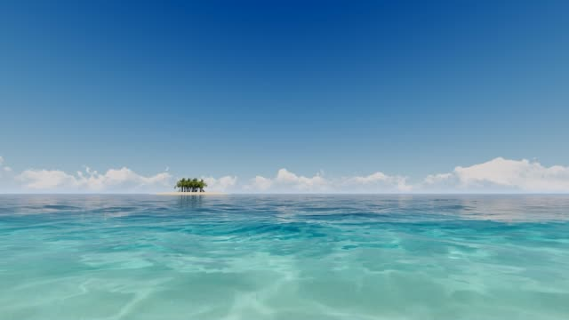 Tropical ocean in 3d style on deep blue background. Sea view. 4k