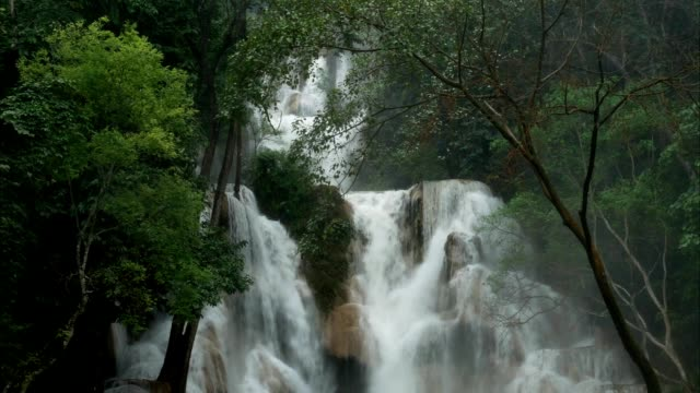Tropical rainforest waterfalls after rain in monsoon season nature background, high humidity forest around Tat Kuang Si waterfalls or Kuang Si falls in Luang Prabang, Laos.