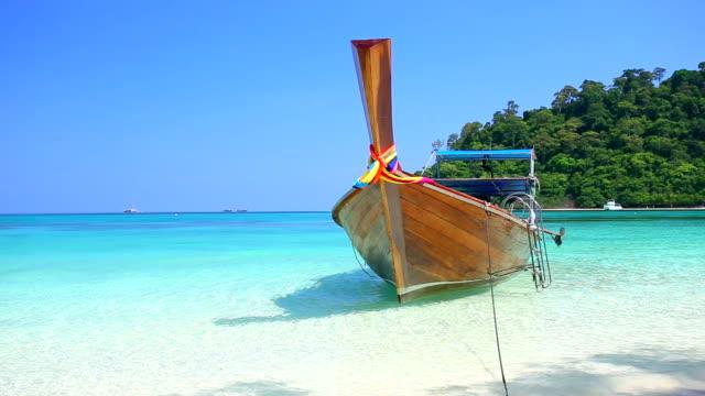 Tropical sand beach Koh rok andaman sea southern of Thailand. video