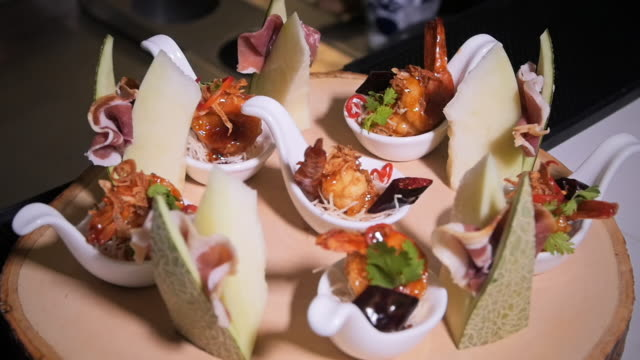 tropical spicy seafood appetizer. - buffet video stock e b–roll