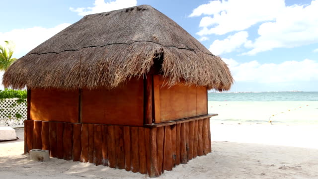 Tropical wooden hut with palm leafs roof on caribbean sea video