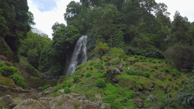 vídeos de stock e filmes b-roll de trough the tunnel to waterfall in the rain forest - arquipélago