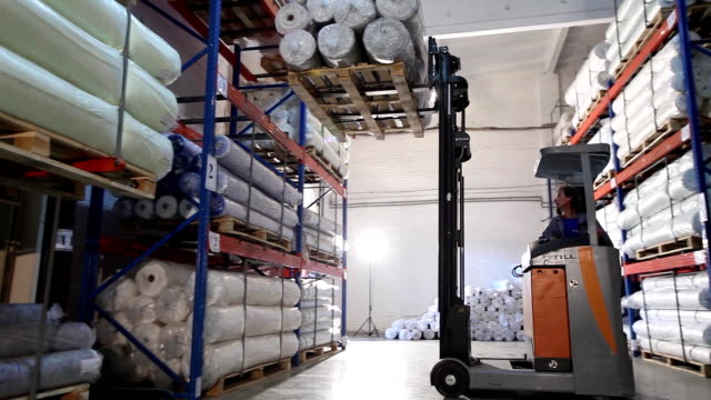 Truck carry the goods, warehouse billets, wire, truck, shipping, electric, indoor, Industrial interior video