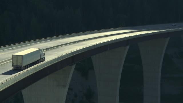 Truck crossing a high level bridge video