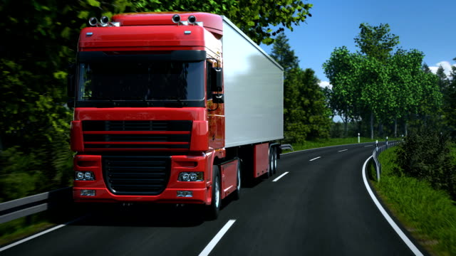 Truck driving along country road video