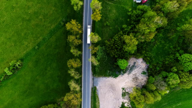 truck on a cinematic road aerial shot 4K 4K Following a truck on a cinematic road aerial shot Delivering goods - Supply Chain semi truck stock videos & royalty-free footage