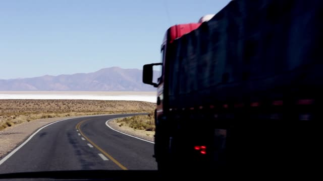 Truck On Salt Flat Road, In Argentina.