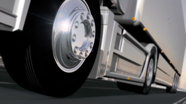 Truck wheels on the road. HD video