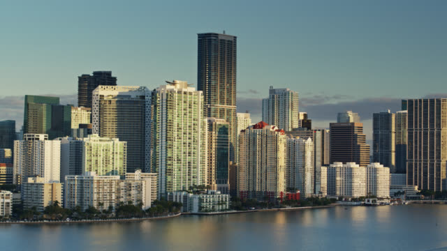 Trucking Drone Shot of Miami Waterfront at Sunrise