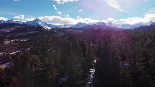 trucking forward aerial drone shot of a forest and snowy peaks of the san juan mountains (rocky mountains) outside telluride, colorado on a bright, winter's day - колорадо стоковые видео и кадры b-roll