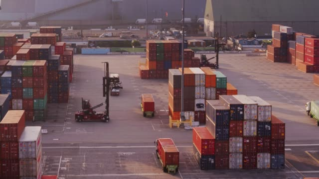 Trucks in a Row in Container Port - Drone Shot - vídeo