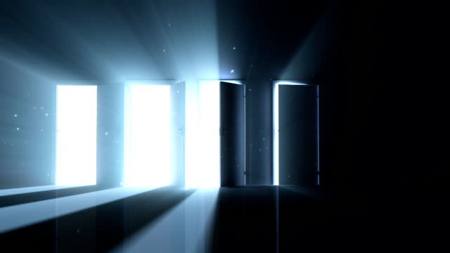 True Path Multiple doors opening to reveal a heavenly light shining through. chance stock videos & royalty-free footage