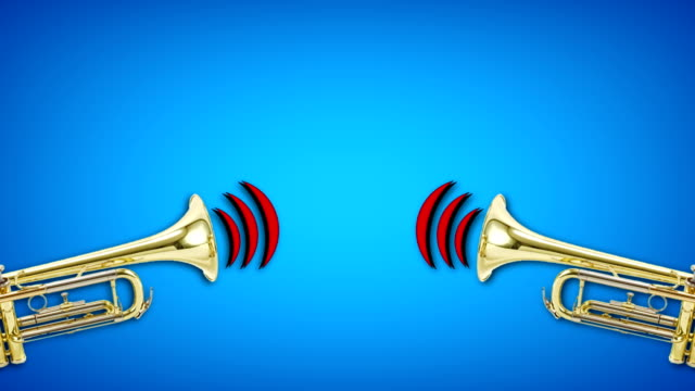 trumpet video animation on blue background. Attention,news,opening. 4k res. trumpet moving on colored background. announcement message stock videos & royalty-free footage
