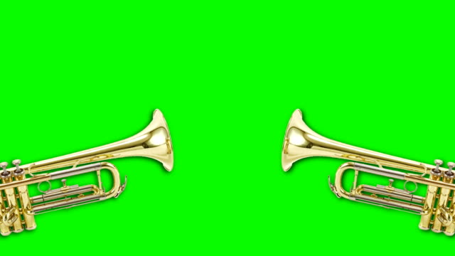 trumpet video animation on green background. Attention,news,opening. 4k res. trumpet moving on colored background. announcement message stock videos & royalty-free footage