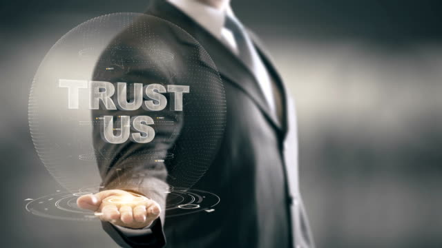 Trust Us Businessman Holding in Hand New technologies video