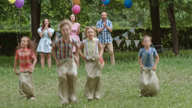 Trying to Be First in sack Race video