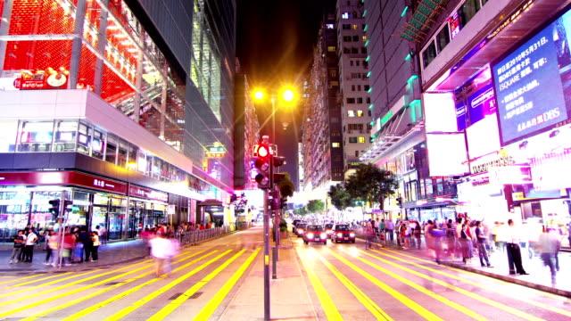 Tsim Sha Tsui. Hong Kong Night Timelapse. 4K Tight Zooming In shot. video