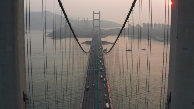 Tsing Ma Bridge aerial view with dolly shot