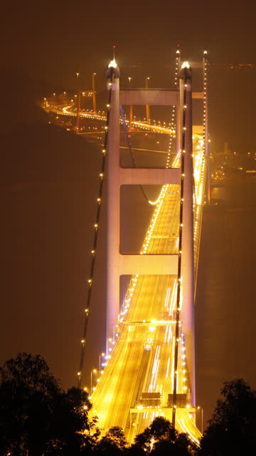 tsing ma bridge at night (time-lapse) - vertical format video stock videos and b-roll footage