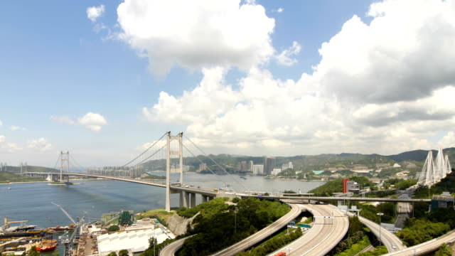 tsing ma bridge at summer - tilt down stock videos & royalty-free footage