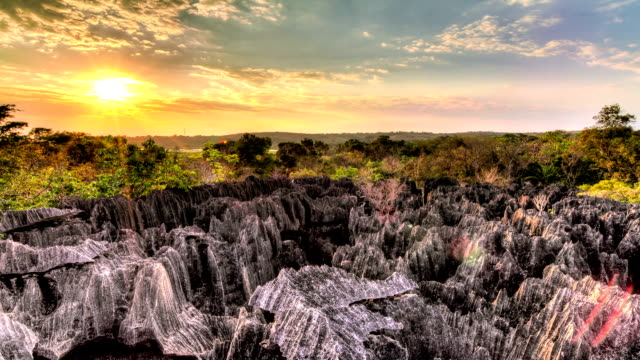 Tsingy sunset timelapse Beautiful Full HD HDR timelapse of  the unique landscape at the Tsingy de Bemaraha Strict Nature Reserve in Madagascar at sunset high dynamic range imaging stock videos & royalty-free footage