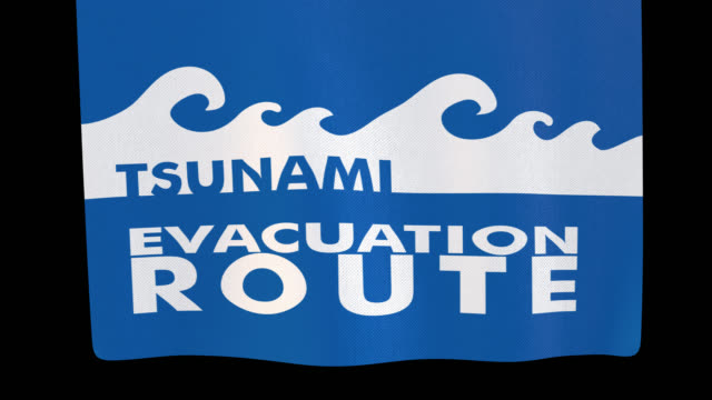 Tsunami evacuation route unfolding cloth sign. Alpha channel will be included when downloading the 4K Apple ProRes 4444 file only Tsunami evacuation route unfolding cloth sign. Alpha channel will be included when downloading the 4K Apple ProRes 4444 file only practice drill stock videos & royalty-free footage