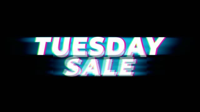 vidéos et rushes de mardi vente texte vintage glitch effet promotion. - activités de week end