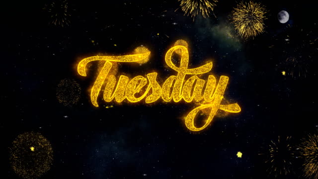 tuesday text wishes reveal from firework particles greeting card. - giving tuesday стоковые видео и кадры b-roll