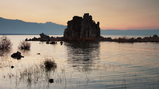 Tufa Formation at Mono Lake After Sunset video