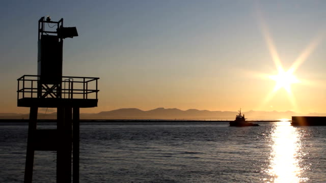 Tug and Barge, Fraser River Sunset video