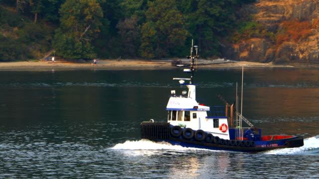 tug boat slow motion, ocean maritime sea transport tugboat vessel - rimorchiatore video stock e b–roll
