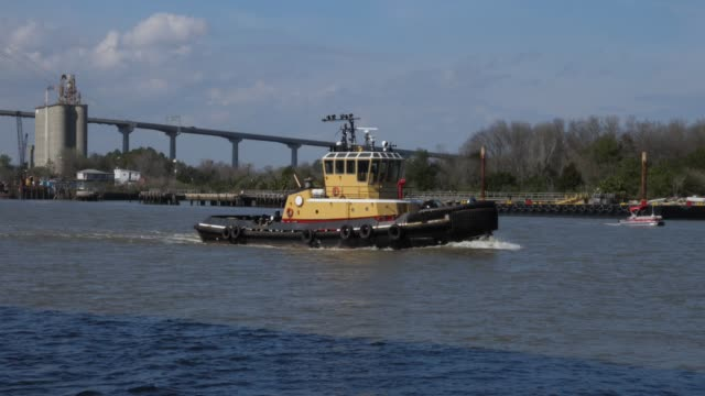 tug boat travels on savannah river on a sunny day - rimorchiatore video stock e b–roll