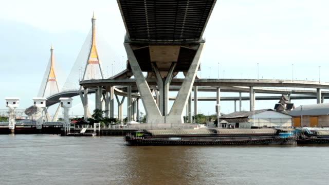 Tugboat transport on river video