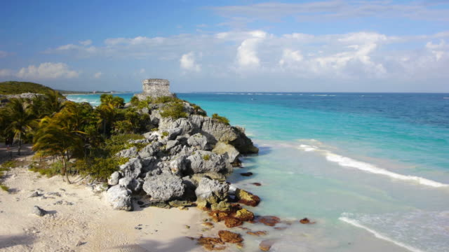 Tulum Beach Mexico Beach at Tulum Mexico with old maya ruin old ruin stock videos & royalty-free footage