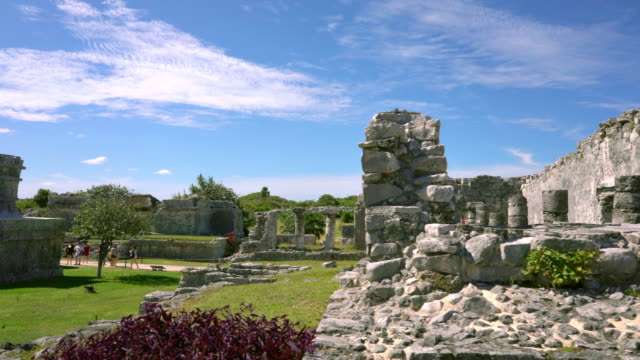 Tulum Mexico : Dolly shot Tulum Mayan ruins in Yucatan Mexico :Dolly Shot old ruin stock videos & royalty-free footage